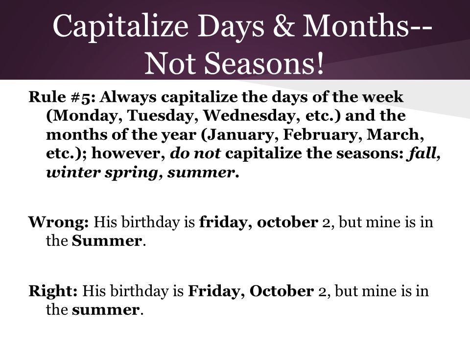 is birthday capitalized Rules of Capitalization   ppt download is birthday capitalized