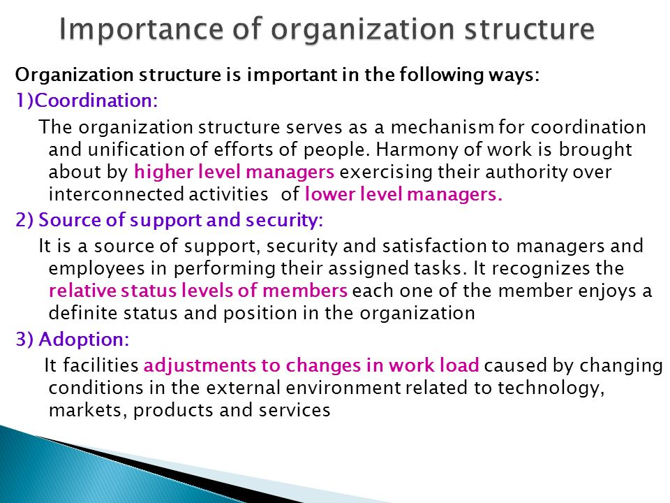 importance of organizational structure