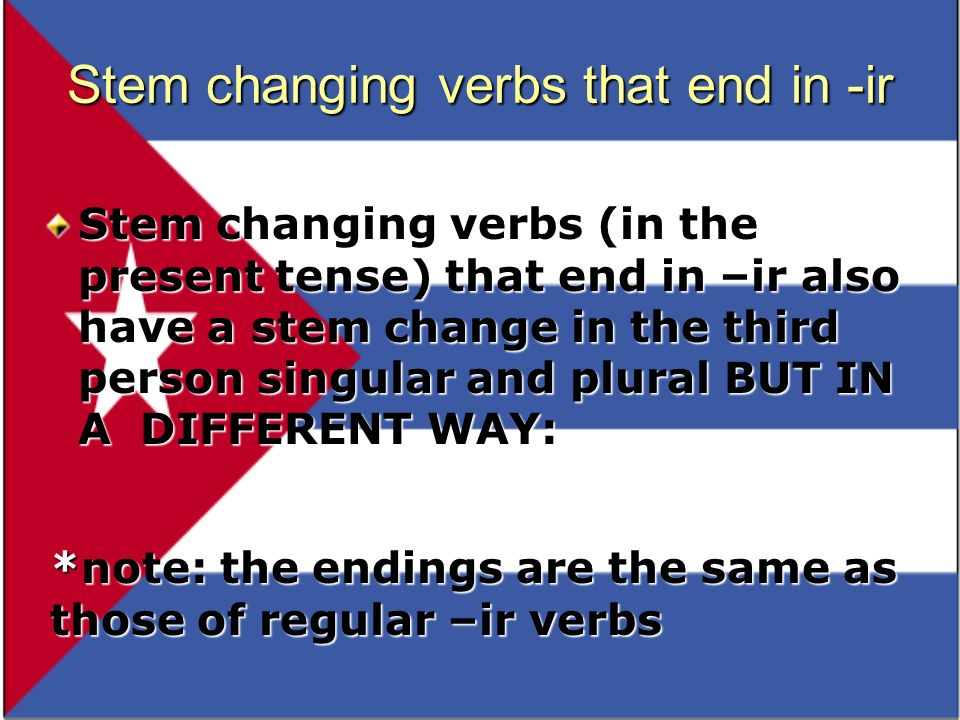 Stem changing verbs that end in -ir