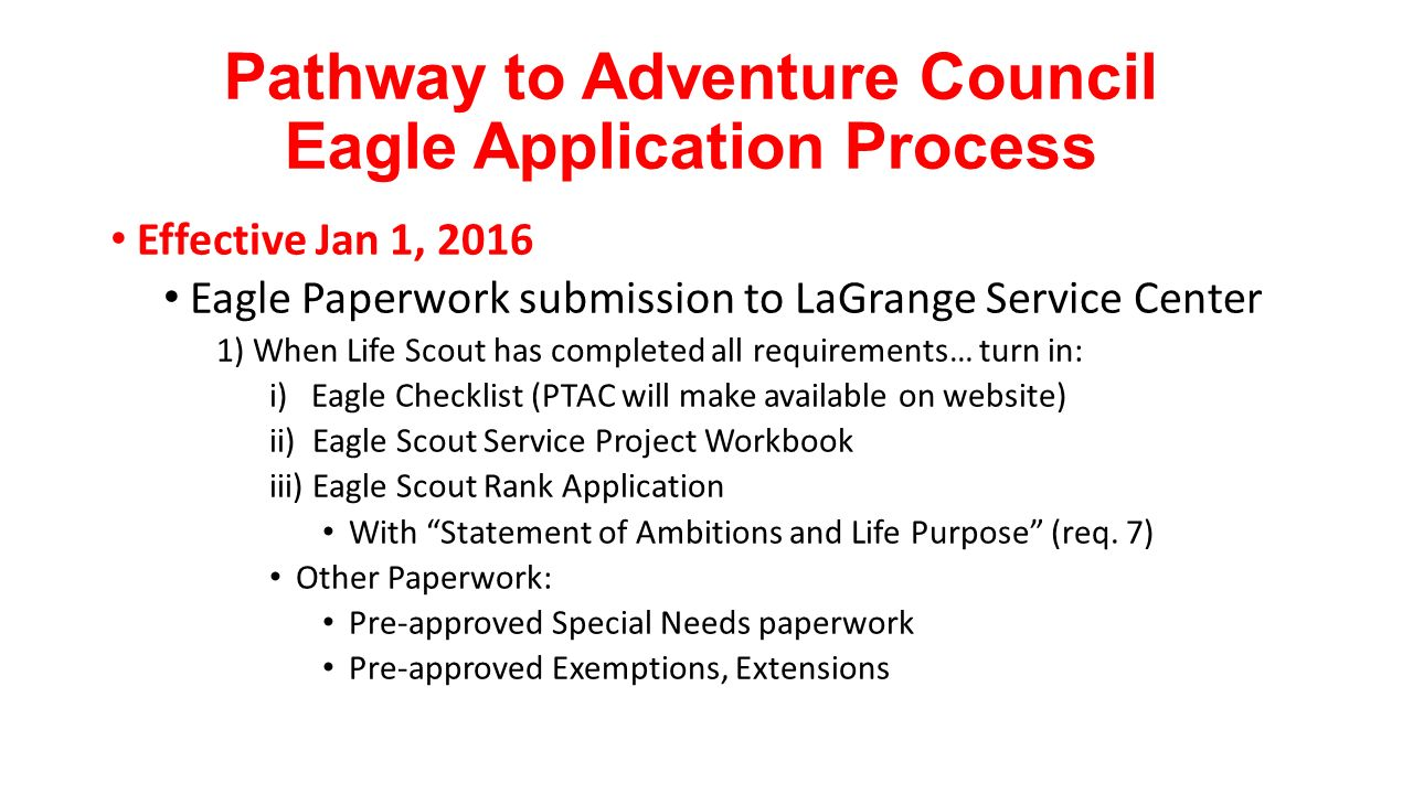 Workbooks eagle scout service project workbook : Pathway to Adventure Council Eagle Application Process - ppt video ...