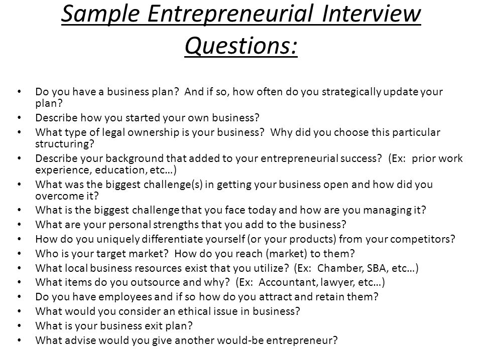 interview with entrepreneur questions