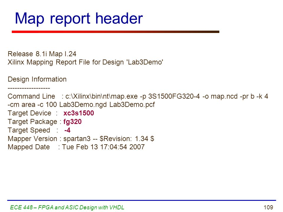 Map report header Release 8.1i Map I.24