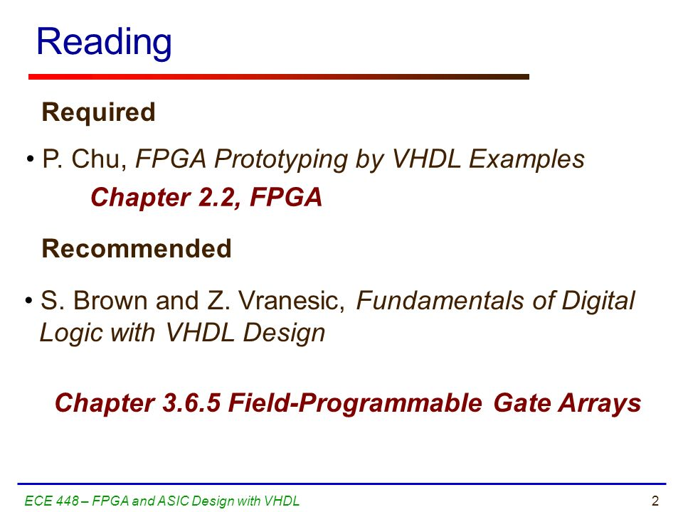 Reading Required P. Chu, FPGA Prototyping by VHDL Examples