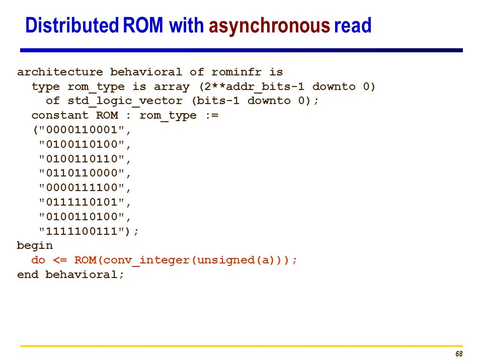 Distributed ROM with asynchronous read
