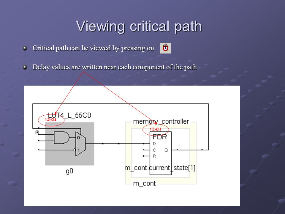 Viewing critical path Critical path can be viewed by pressing on