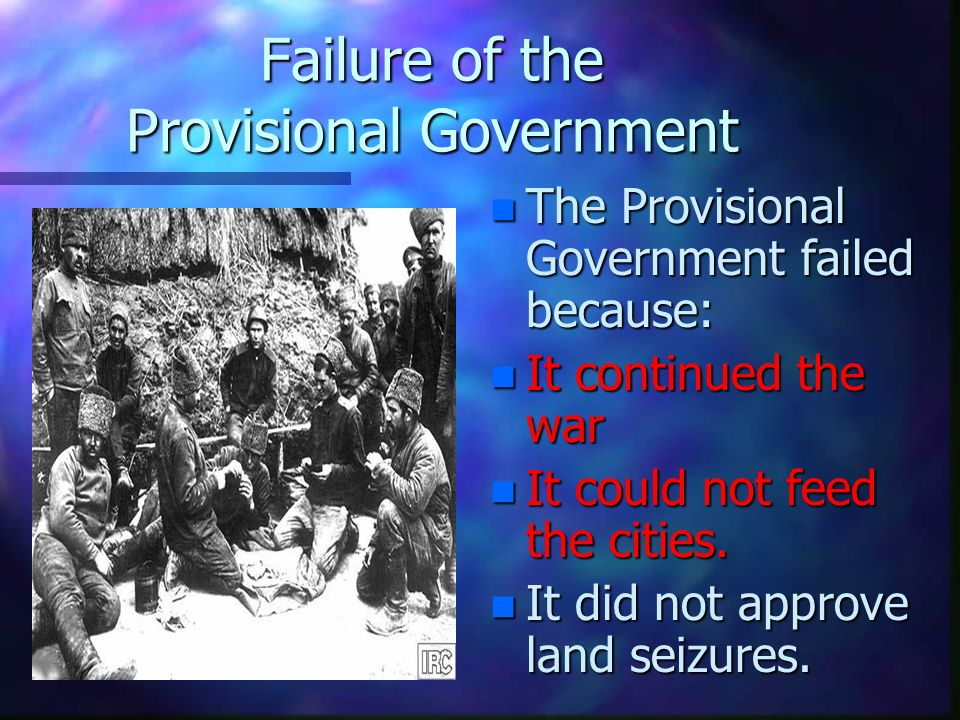 why did the provisional government fail