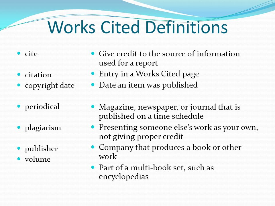 Authentic resources the works cited page ppt video online download works cited definitions ccuart Image collections
