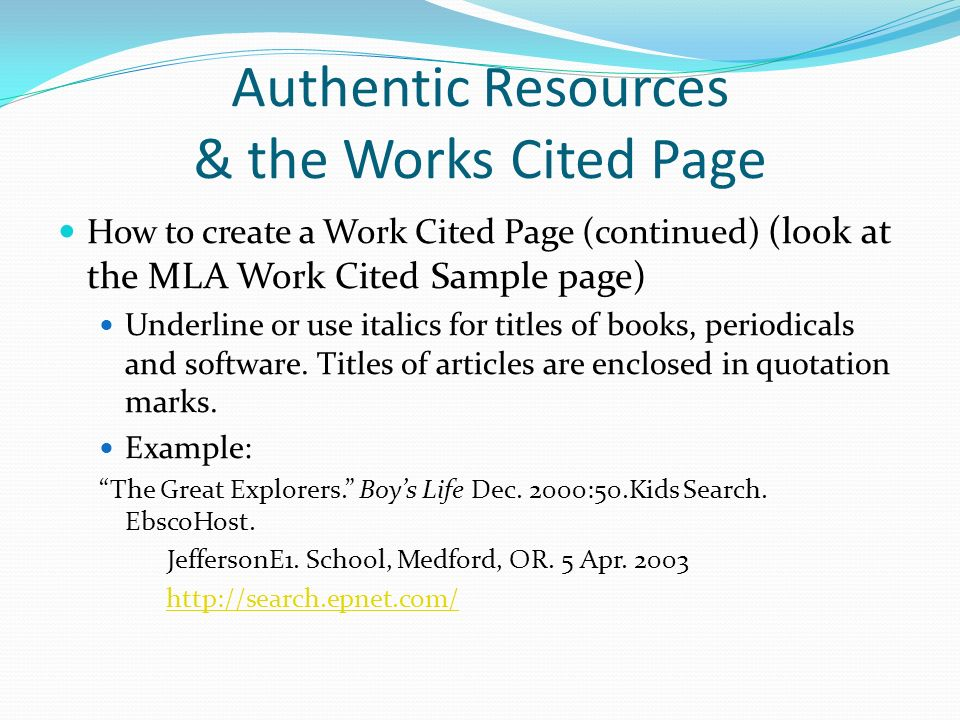 Authentic Resources The Works Cited Page Ppt Video Online Download