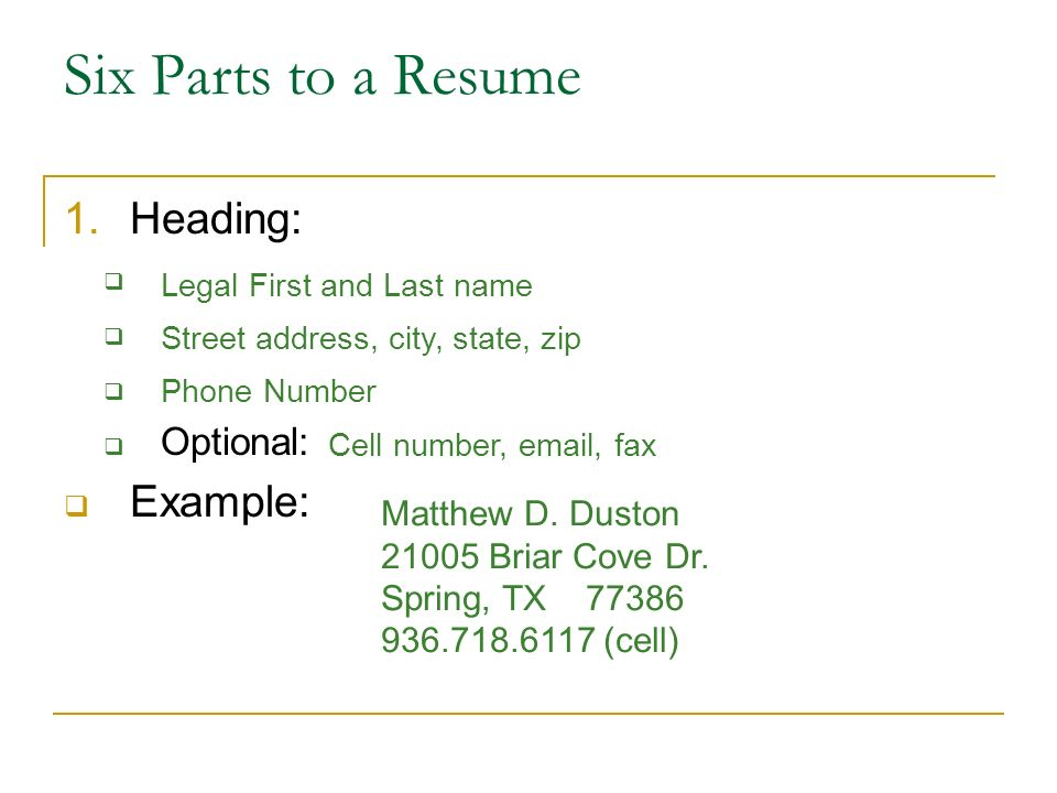 Writing A Resume Ppt Download. Six Parts To A Resume Heading Exle Optional. Resume. Phone Number On Resume At Quickblog.org