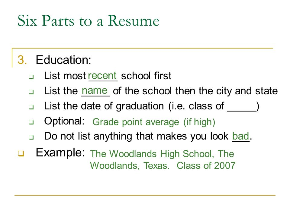 Writing A Resume Ppt Download. Six Parts To A Resume Education Exle List Most School First. Resume. List Education On Resume At Quickblog.org