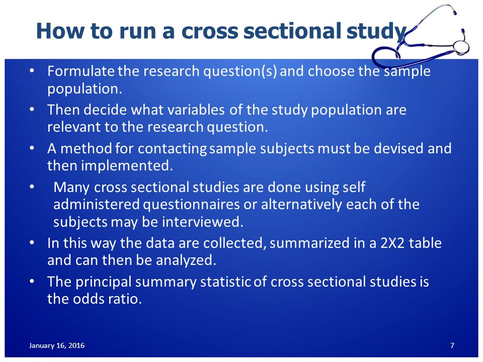 cross sectional research study example