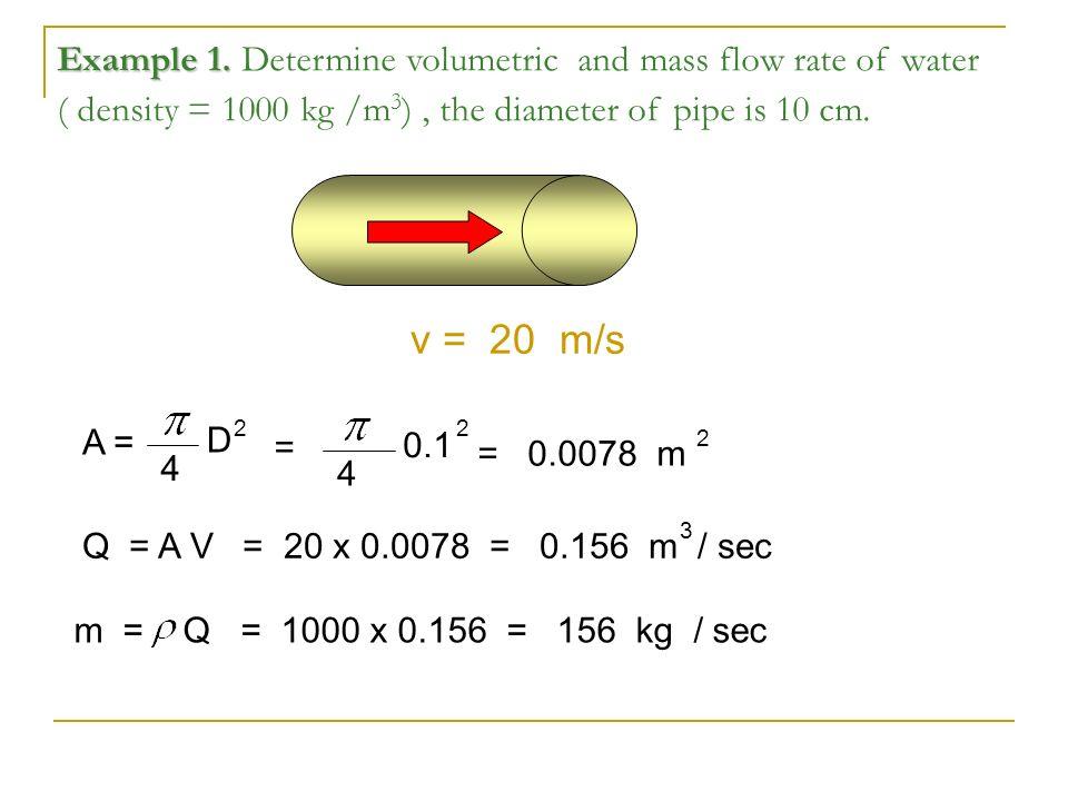 Determine volumetric and mass flow rate of water ( density = 1000 kg