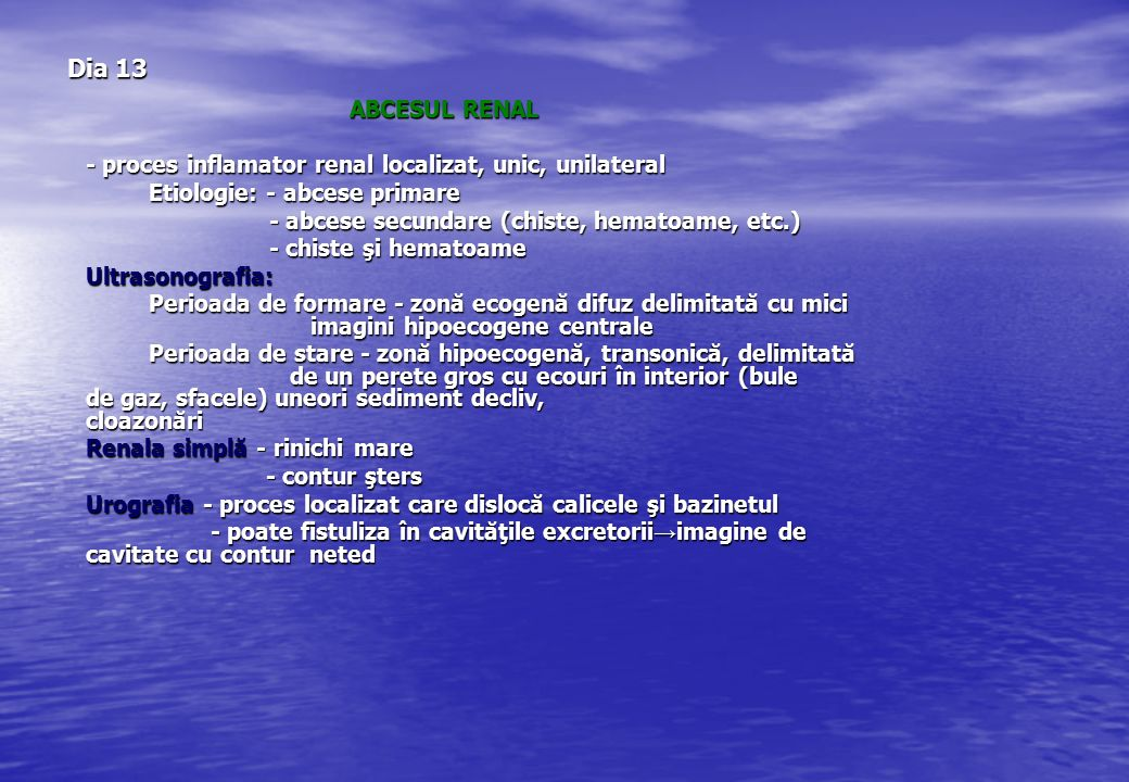 Dia 13 ABCESUL RENAL. - proces inflamator renal localizat, unic, unilateral. Etiologie: - abcese primare.