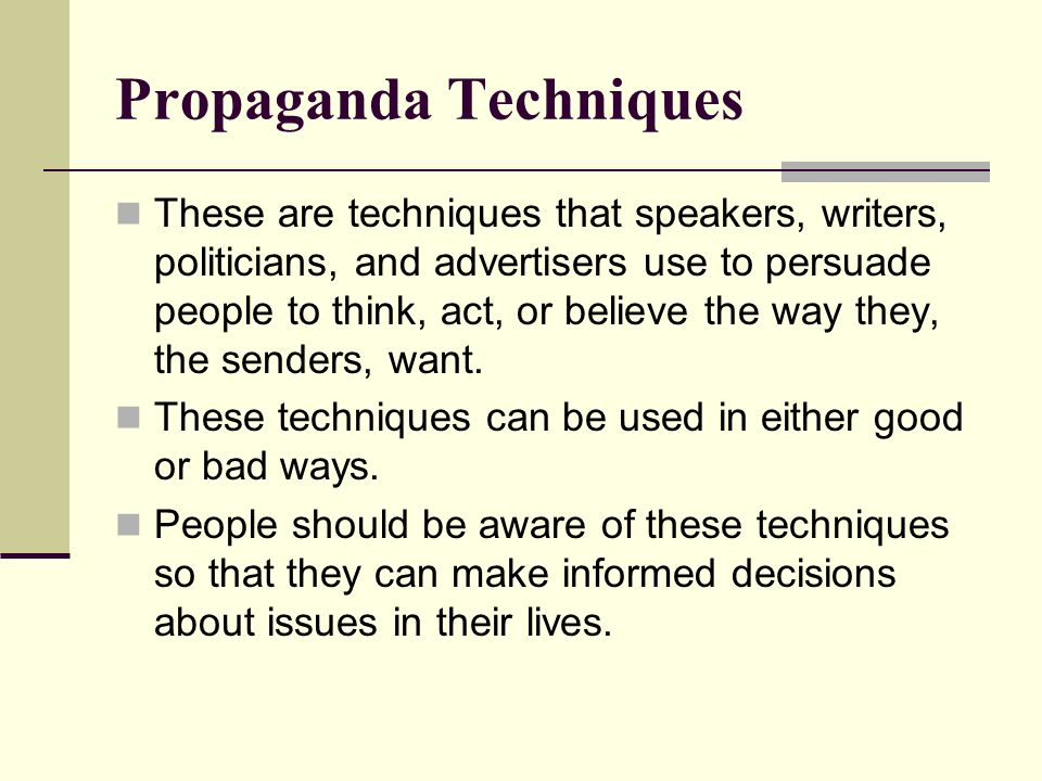 summry response propaganda techniques Propaganda techniques describe the specific tactics used to manipulate public opinion via according to adolf hitler, the most brilliant propagandist technique will yield no success unless yes/no conditioning, eliciting a response, leading: eliciting a response by asking questions you.