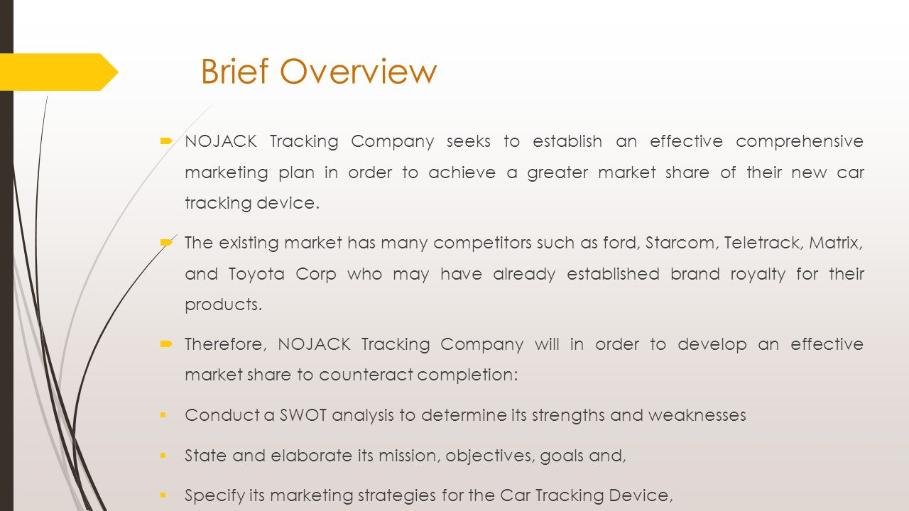 brief overview nojack tracking company seeks to establish an