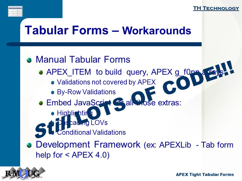 Karen Cannell APEX: Tight Tabular Forms Karen Cannell - ppt