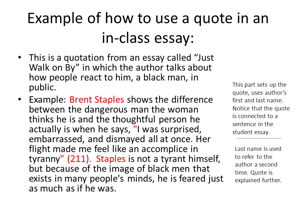 Essay On High School Example Of How To Use A Quote In An Inclass Essay Essay In English Literature also Analysis And Synthesis Essay Preparation For Midterm  Ppt Download Samples Of Persuasive Essays For High School Students