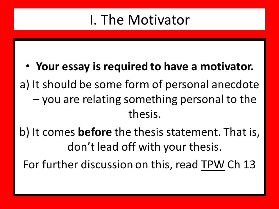I The Motivator Your Essay Is Required To Have A