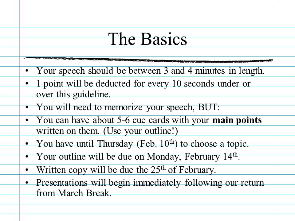 3 minutes presentation speech