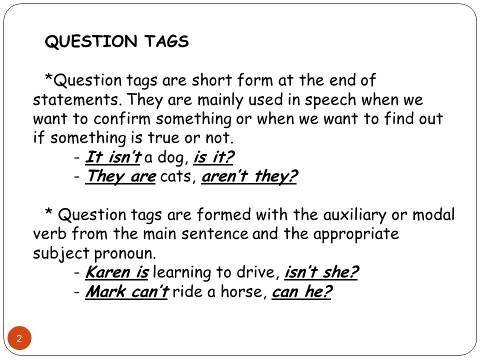 Question Tags Ppt Download