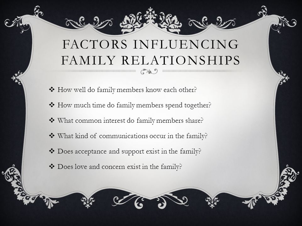 Factors Influencing Family Relationships