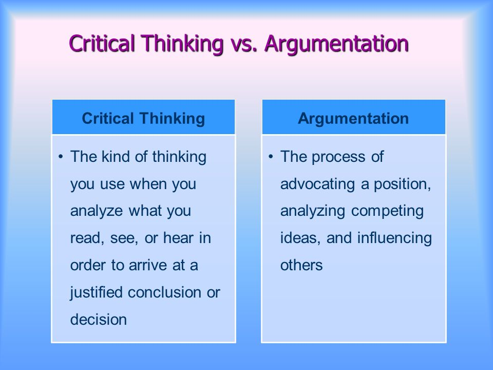 critical thinking and argumentation