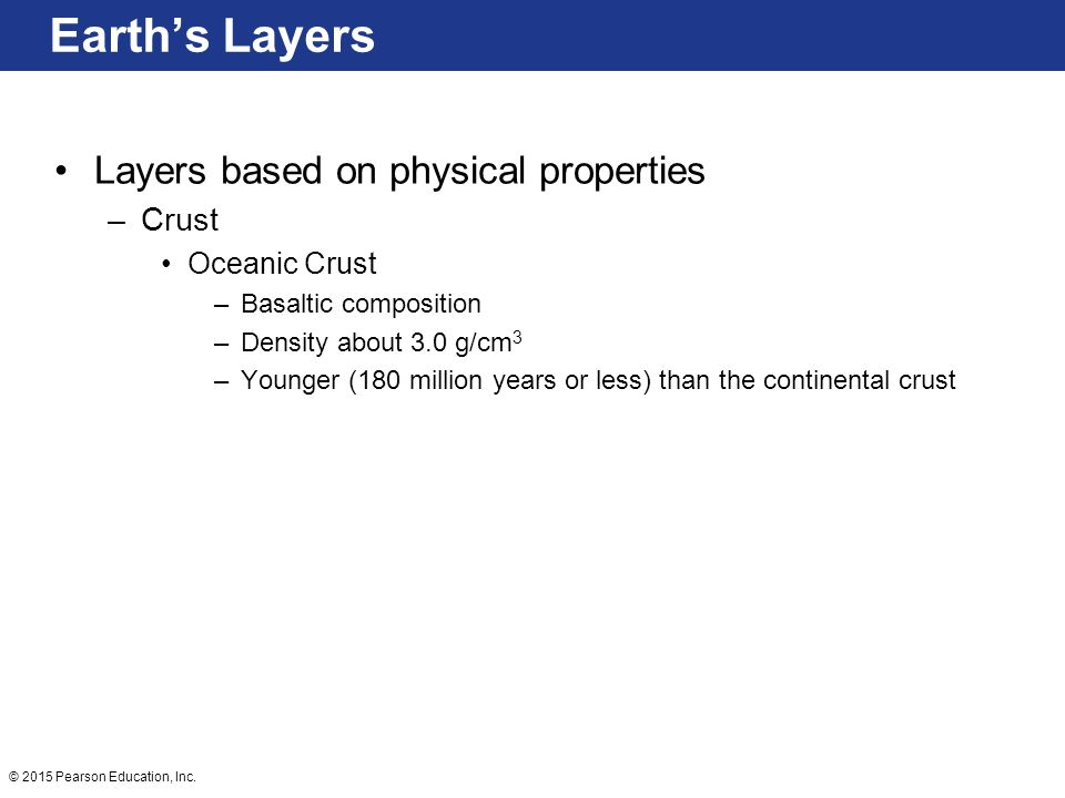 Earth's Layers Layers based on physical properties Crust Oceanic Crust