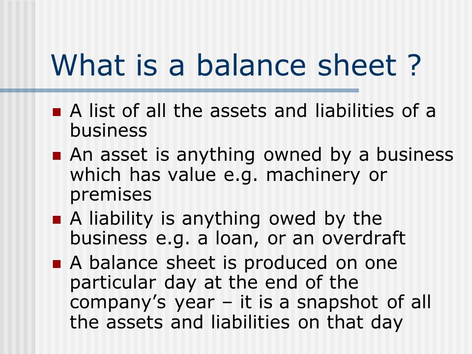 what are balance sheet