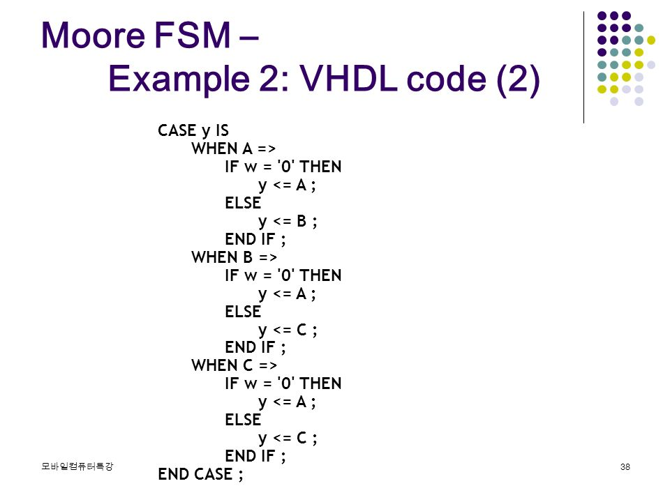 Moore vhdl code