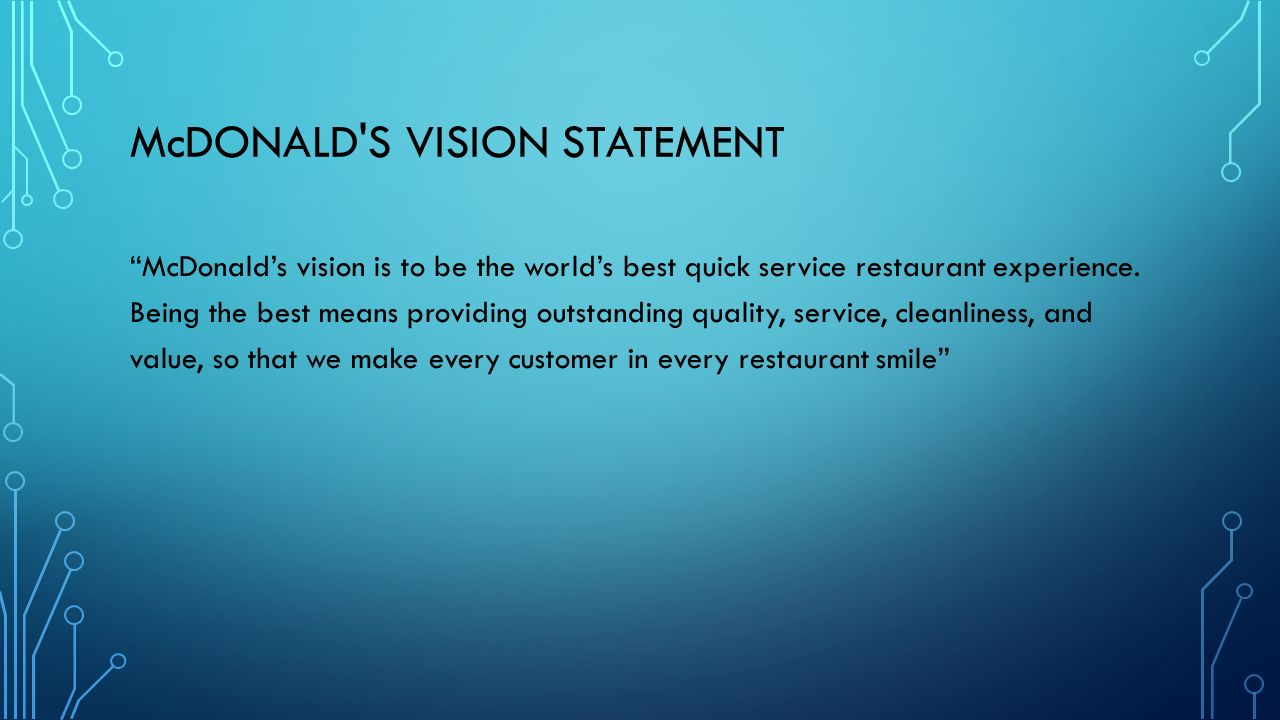 mcdonald s mission and vision statements student s name institution