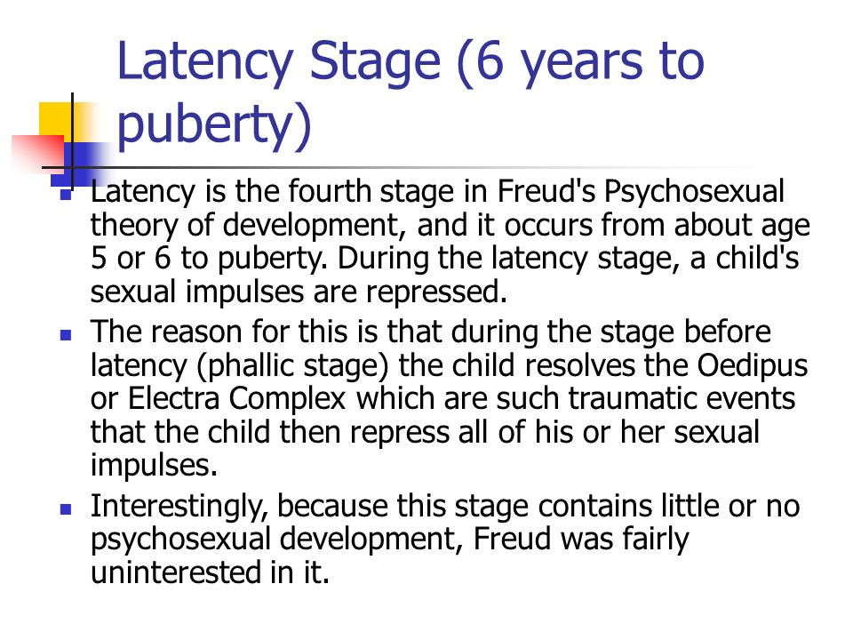 Stages of psychosexual development ages