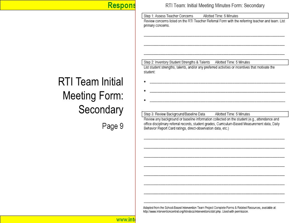 RTI Intervention Teams in Middle & High Schools: Challenges and