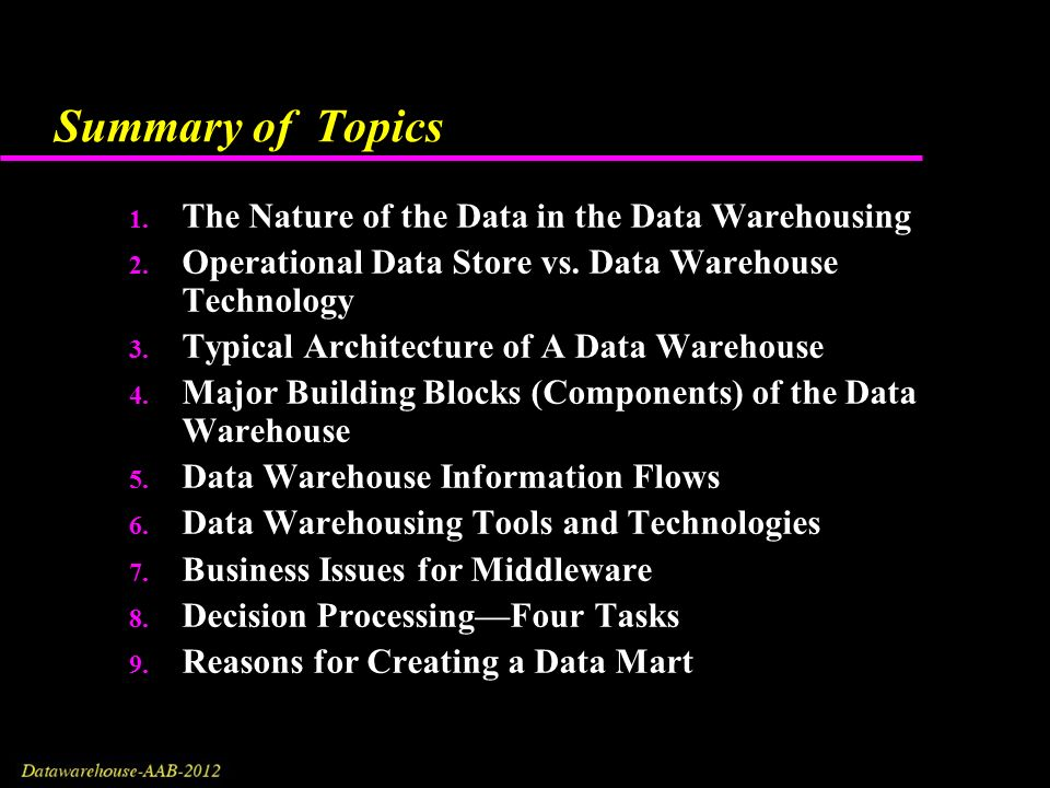 Data Warehousing: Architecture, Components and The Building