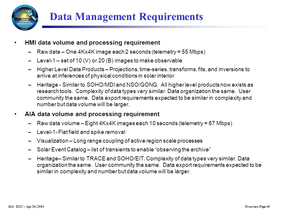 Data Management Requirements