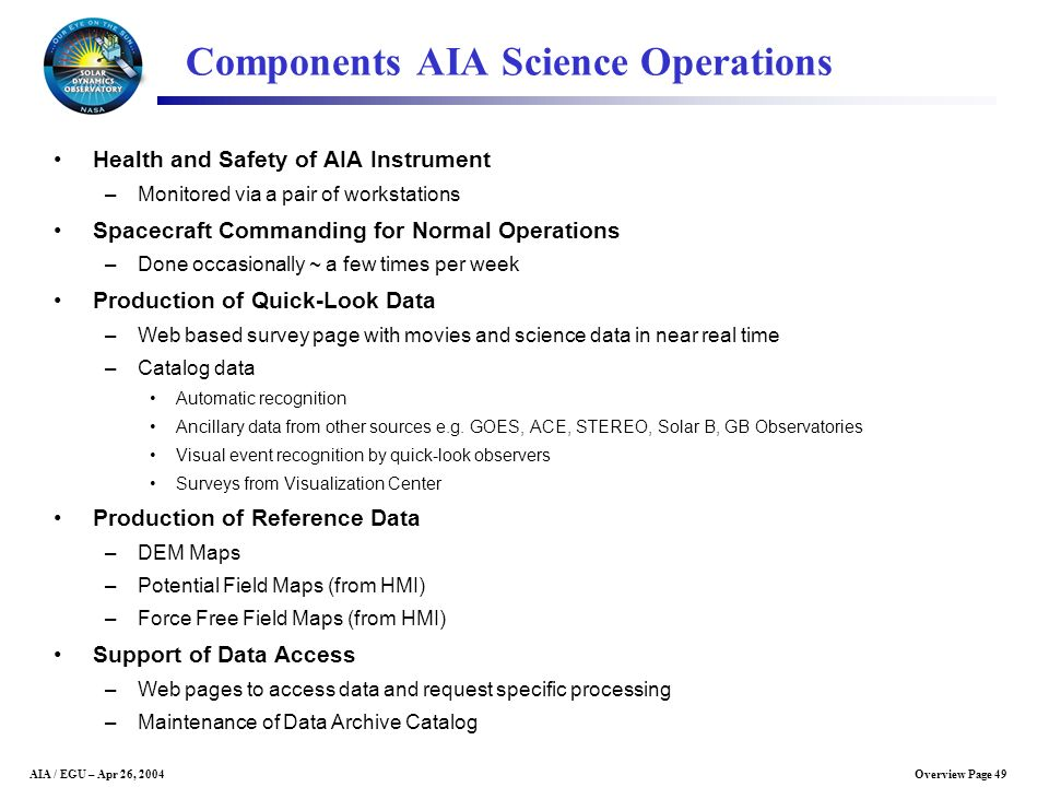 Components AIA Science Operations