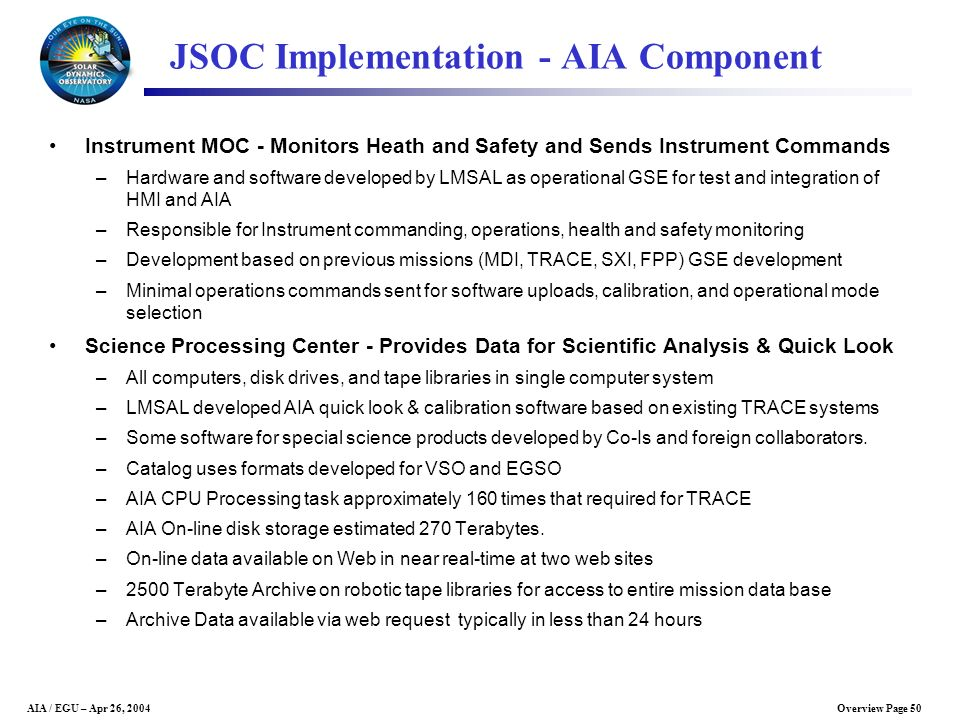 JSOC Implementation - AIA Component