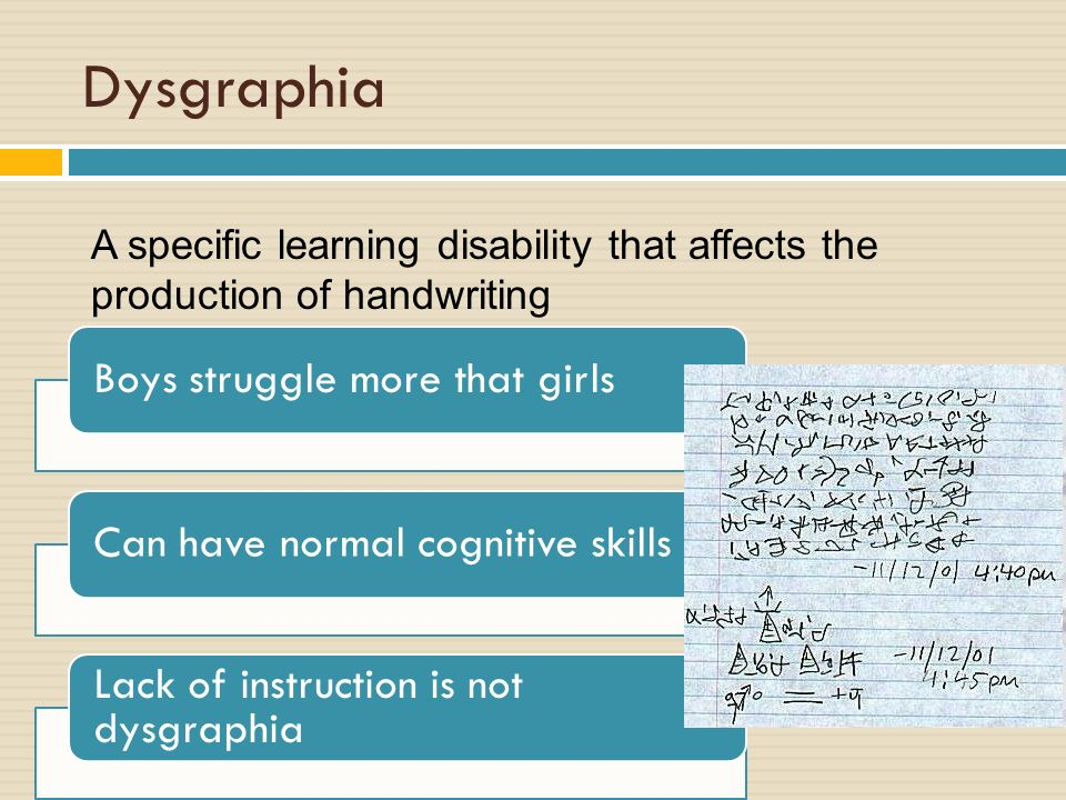 Specialized instruction in Written Expression: Handwriting - ppt ...