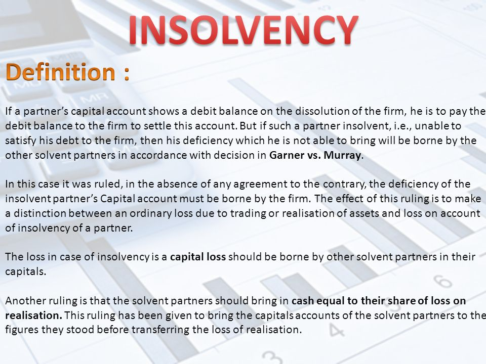 Partnership Accounts Dissolution Insolvency Sale To A Company And