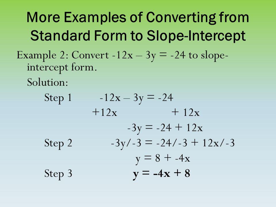 How Do You Convert Standard Form To Slope Intercept Form Image