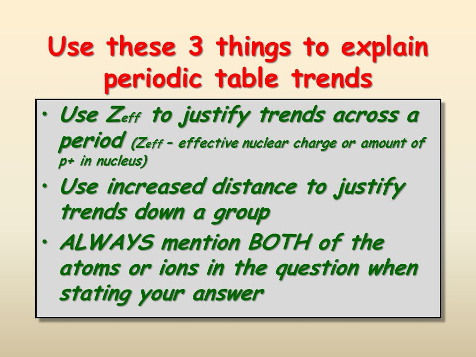 Periodic trends ppt download use these 3 things to explain periodic table trends urtaz Choice Image