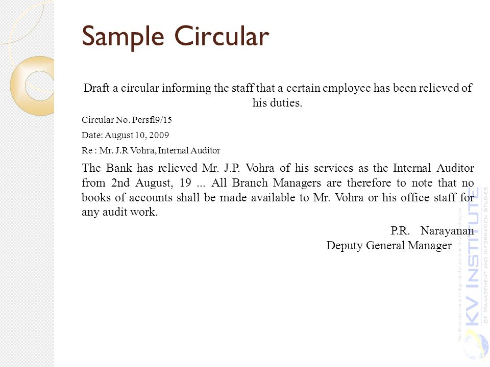 office circular sample