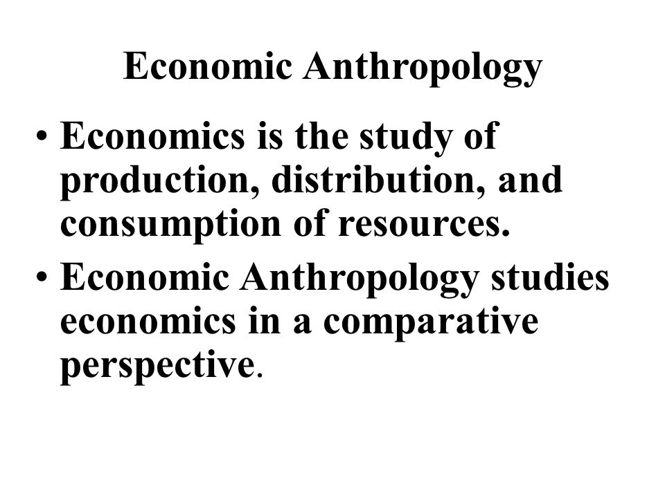 relationship of economics to anthropology