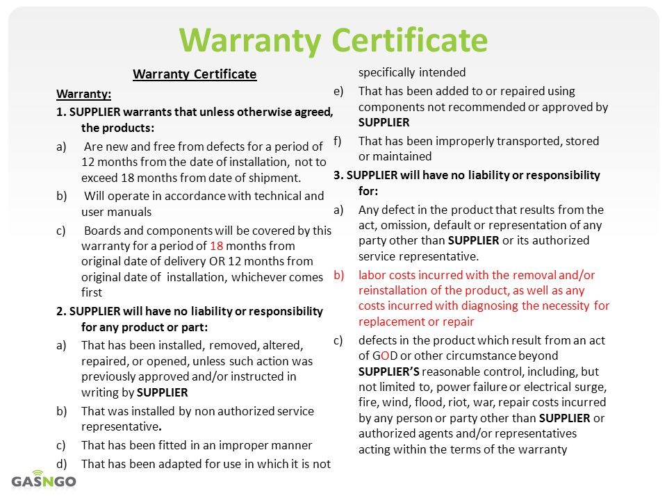 Warranty As A Company That Provides Services We Need To Have A