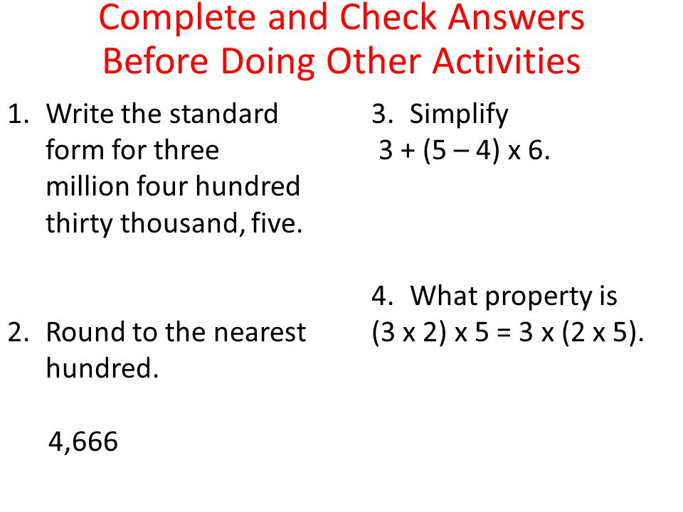 Complete And Check Answers Before Doing Other Activities Ppt Video