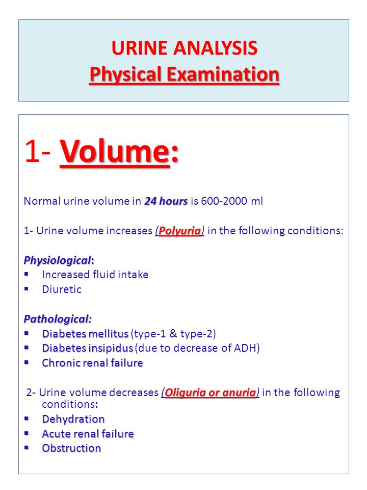 Urine Analysis 1- Physical Examination 2- Chemical Examination 3