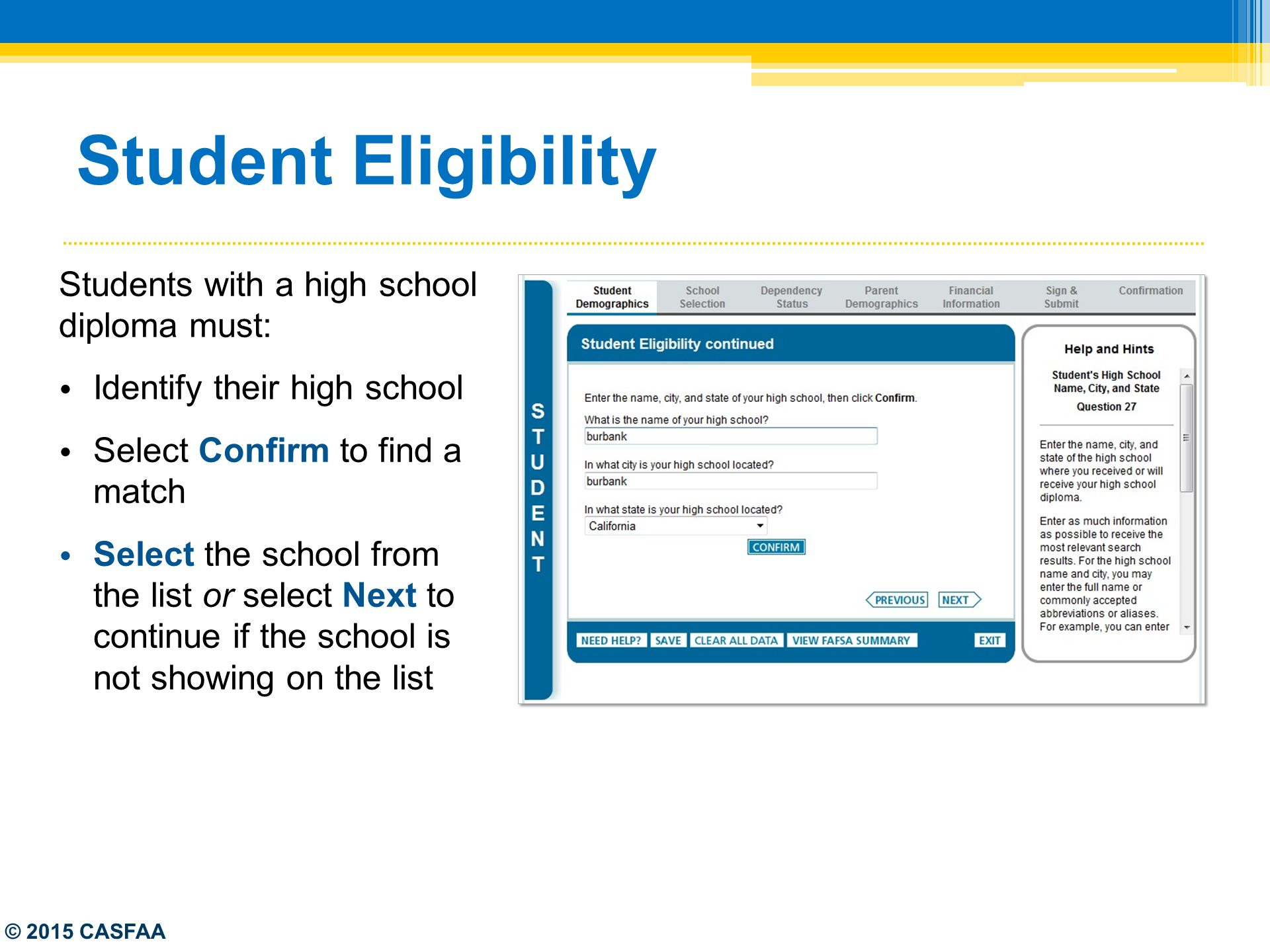 Student Eligibility Students With A High School Diploma Must: