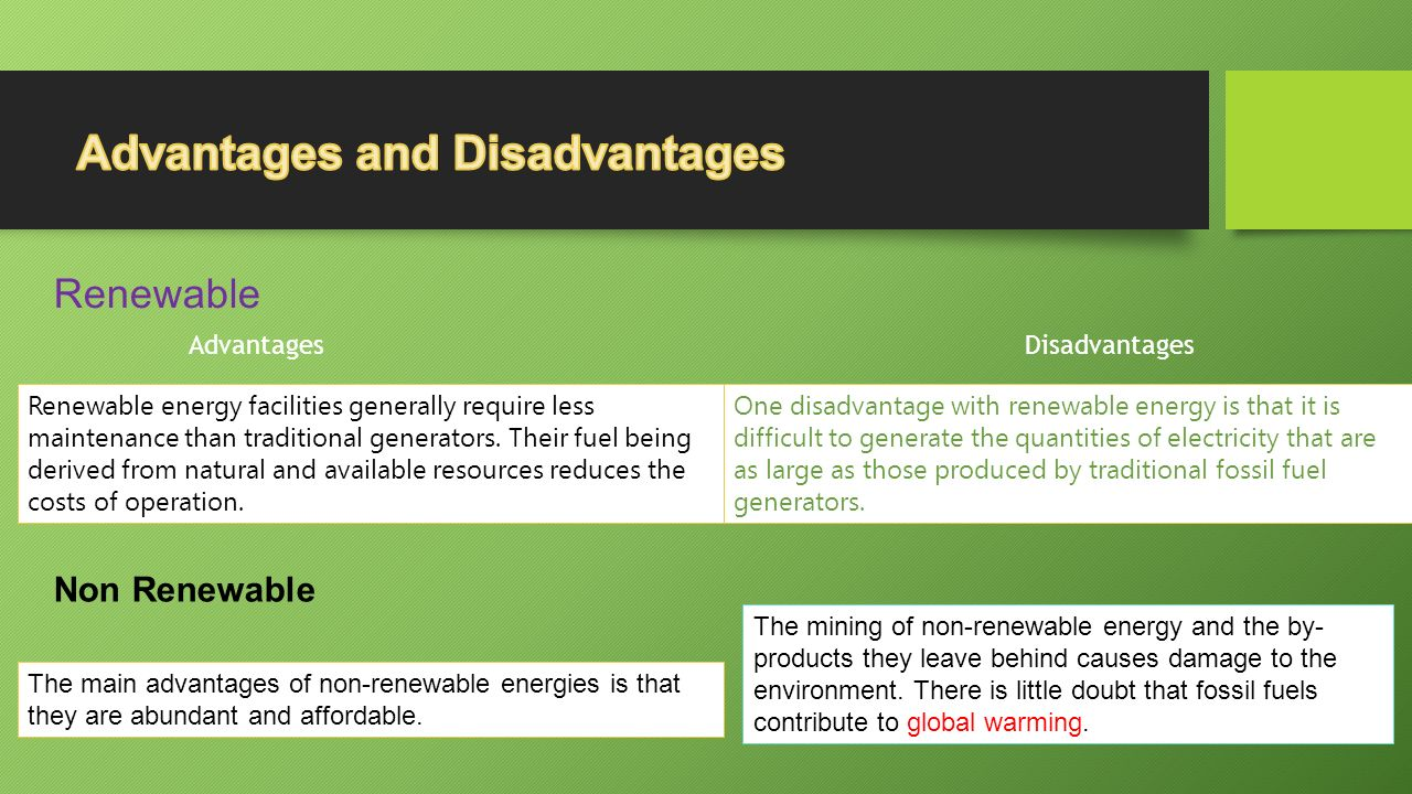 advantages and disadvantages of renewable energy environmental sciences essay Pros and cons of plastics and paper environmental sciences essay by admin on september 25, 2017 july 13, 2017  paper besides brings disadvantages the production of paper consumed high sum of energy and natural resources  optimum fraction of scottish renewable energy generation environmental sciences essay.