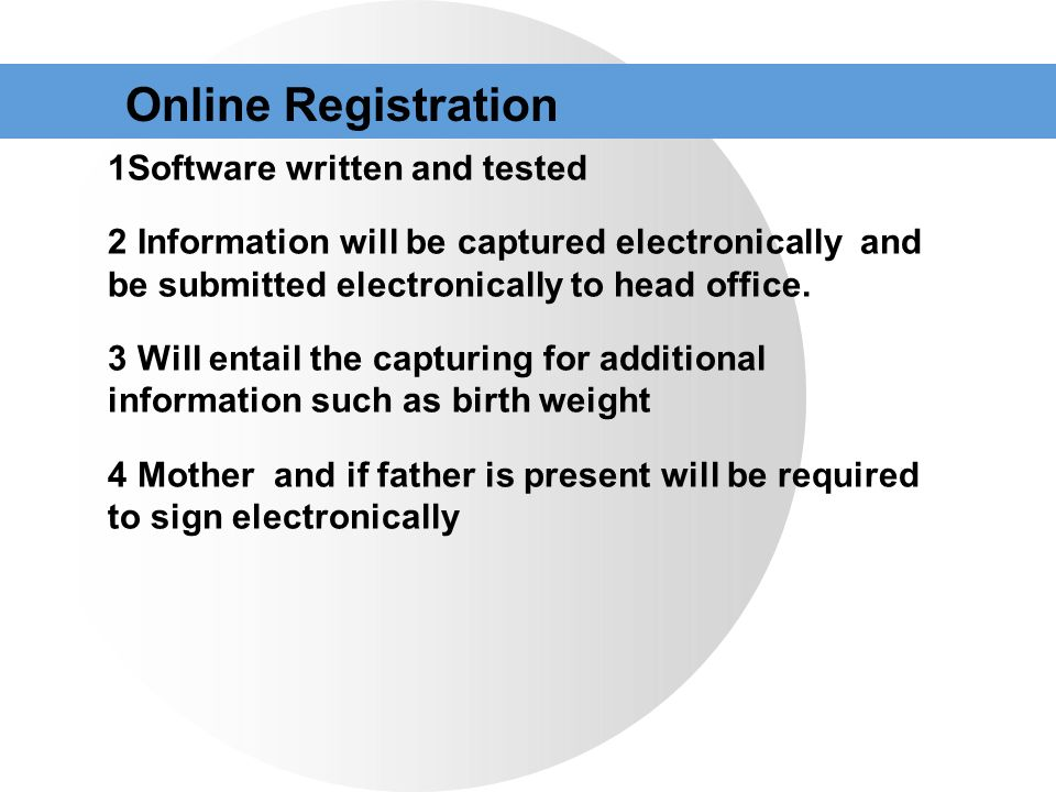 Online Registration Software written and tested