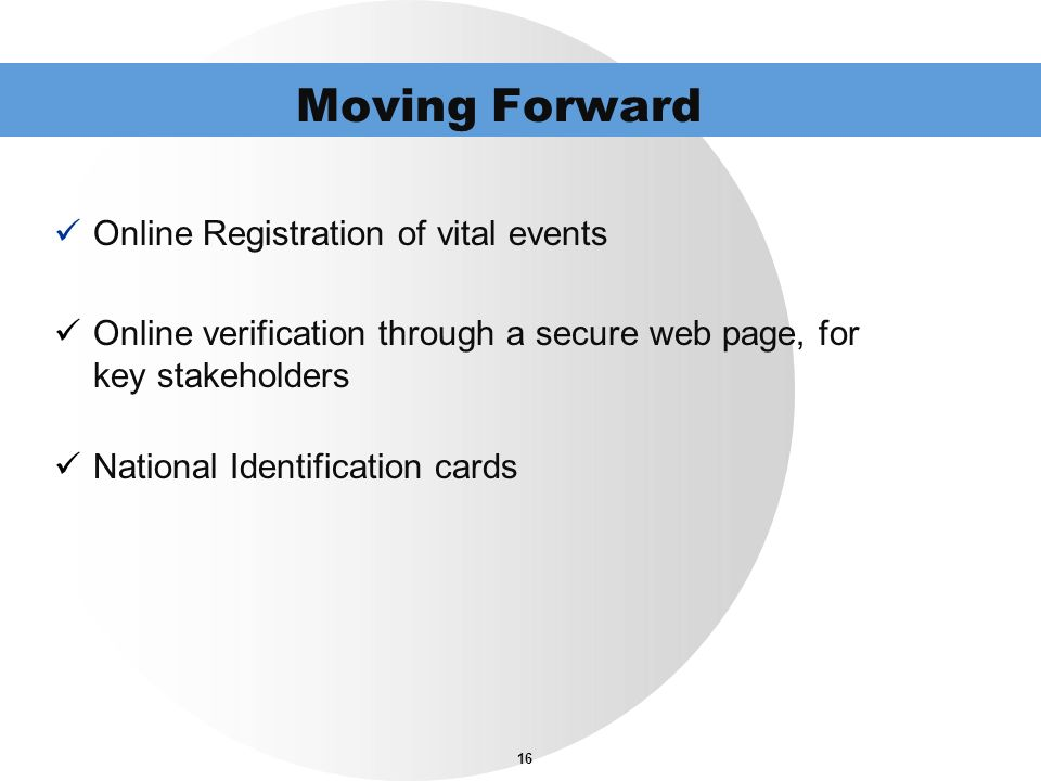 Moving Forward Online Registration of vital events