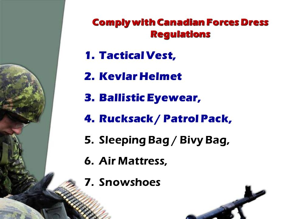 Comply with Canadian Forces Dress Regulations - ppt download